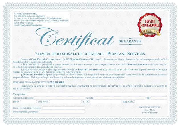 Certificat de garantie oferit clientului de catre firma Piontani Services in urma activitatilor de curatenie