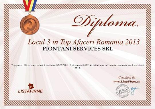Diploma acordata firmei Piontani Services pentru calitatea serviciilor de curatenie